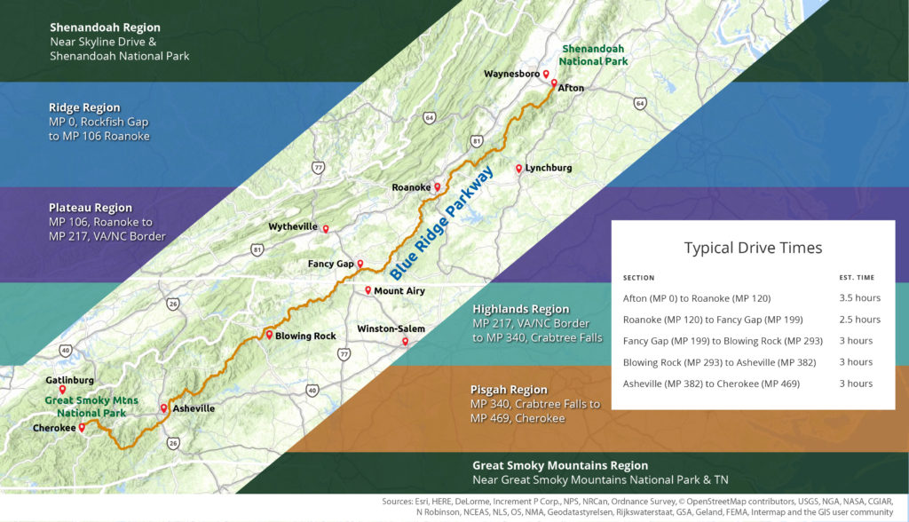 Blue Ridge Parkway Drive Times Map with Regions